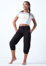 Camiseta de baile con malla y logotipo Bloch para joven Blanco frontal. [Blanco]