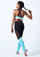 Top Danza Corto Chica Cruzado en la Espalda Bloch Azul trasera. [Azul]