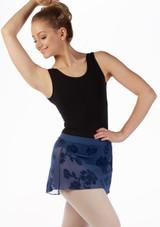 Falda de ballet Rose Flock Mirella Azul frontal. [Azul]