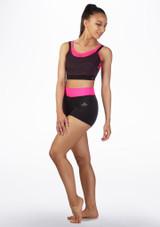 Sujetador deportivo con malla en capas Dansez Negro-Rosa frontal. [Negro-Rosa]