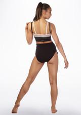 Sujetador deportivo con malla en capas Dansez Negro-Blanco trasera #2. [Negro-Blanco]