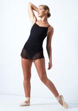 Falda de malla con cinturilla Ballet Rosa Negro  Delante-1 [Negro ]