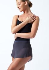 Falda de malla con cinturilla Ballet Rosa Gris Oscuro Delante-1T [Gris Oscuro]