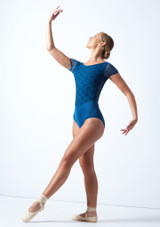 Maillot bordado con mangas cortas Ballet Rosa Azul  Delante-1 [Azul ]