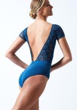 Maillot bordado con mangas cortas Ballet Rosa Azul  Detrás-1T [Azul ]