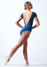 Maillot bordado con mangas cortas Ballet Rosa Azul  Detrás-1 [Azul ]