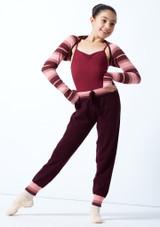 Bolero de punto a rayas Sweet para adolescente Move Dance Rosa  Delante-2 [Rosa ]