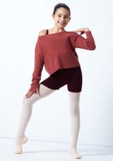 Suéter de danza corto de punto acanalado Blush para adolescente Move Dance Frambuesa  Delante-1 [Frambuesa ]