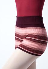 Pantalones cortos de danza de punto enrollables Blossom Move Dance Higo  Detalle delantero-1 [Higo ]