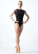 Maillot floral con cremallera Isadora Move Dance Negro  Delante-1 [Negro ]
