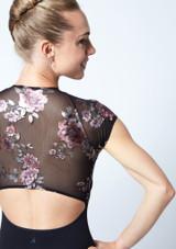 Maillot floral con cremallera Isadora Move Dance Negro  Detalle trasero-1 [Negro ]
