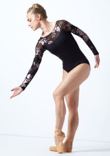 Maillot de manga larga con estampado floral Rachel Move Dance Negro  Delante-1 [Negro ]