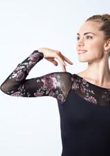 Maillot de manga larga con estampado floral Rachel Move Dance Negro  Detalle delantero-1 [Negro ]