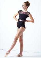 Maillot con mangas cortas floral Dynamic para adolescente Move Dance Negro  Delante-1 [Negro ]