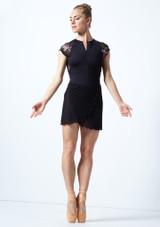 Falda de danza cruzada de malla transparente Odile Move Dance Negro  Delante-2 [Negro ]