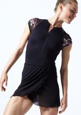 Falda de danza cruzada de malla transparente Odile Move Dance Negro  Delante-1T [Negro ]