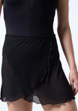Falda de danza cruzada de malla transparente Odile Move Dance Negro  Detalle delantero-1 [Negro ]