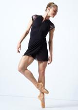 Falda de danza cruzada de malla transparente Odile Move Dance Negro  Delante-1 [Negro ]