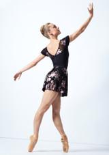 Falda de danza sin cordones de malla floral Louise Move Dance Negro  Detrás-1 [Negro ]