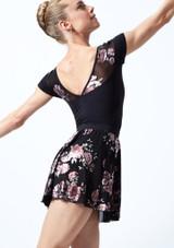 Falda de danza sin cordones de malla floral Louise Move Dance Negro  Detrás-1T [Negro ]