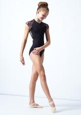 Maillot floral con cremallera Isadora para adolescente Move Dance Negro  Delante-2 [Negro ]