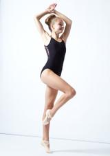 Maillot camisola cruzado de malla floral Furneaux para adolescente Move Dance Negro  Delante-1 [Negro ]