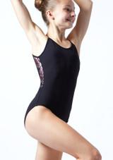 Maillot camisola cruzado de malla floral Furneaux para adolescente Move Dance Negro  Delante-1T [Negro ]