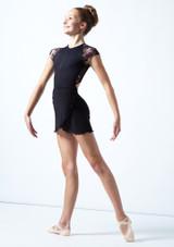 Falda de danza cruzada de malla transparente para adolescente Odile Move Dance Negro  Delante-1 [Negro ]
