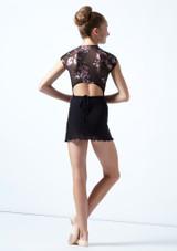 Falda de danza cruzada de malla transparente para adolescente Odile Move Dance Negro  Detrás-1 [Negro ]