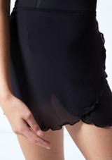 Falda de danza cruzada de malla transparente para adolescente Odile Move Dance Negro  Detalle delantero-1 [Negro ]