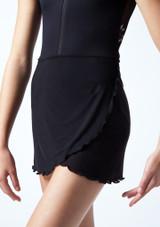 Falda de danza cruzada de malla transparente para adolescente Odile Move Dance Negro  Detalle delantero-2 [Negro ]