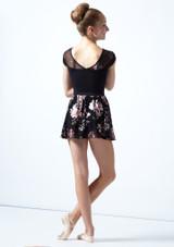 Falda de danza sin cordones de malla floral Louise para adolescente Move Dance Negro  Detrás-2 [Negro ]