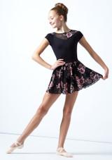 Falda de danza sin cordones de malla floral Louise para adolescente Move Dance Negro  Delante-1 [Negro ]