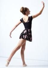 Falda de danza sin cordones de malla floral Louise para adolescente Move Dance Negro  Detrás-1 [Negro ]