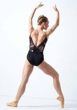 Maillot camisola cruzado de malla floral Furneaux Move Dance Negro  Detrás-1 [Negro ]