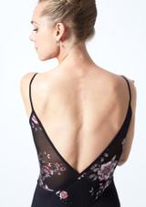 Maillot camisola cruzado de malla floral Furneaux Move Dance Negro  Detalle trasero-1 [Negro ]