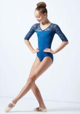 Maillot con manga 3/4 y espalda abierta para joven Ballet Rosa Azul  Delante-1 [Azul ]