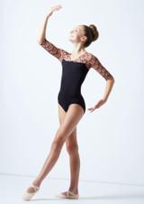 Maillot con manga 3/4 y espalda abierta para joven Ballet Rosa Caramelo  Delante-1 [Caramelo ]