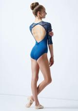 Maillot con manga 3/4 y espalda abierta para joven Ballet Rosa Azul  Detrás-1 [Azul ]