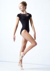Maillot con escote corazón floral Margot para adolescente Move Dance Negro  Delante-1 [Negro ]