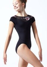 Maillot con escote corazón floral Margot para adolescente Move Dance Negro  Delante-1T [Negro ]