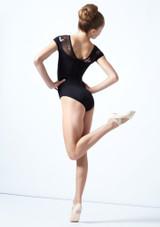 Maillot con escote corazón floral Margot para adolescente Move Dance Negro  Detrás-1 [Negro ]