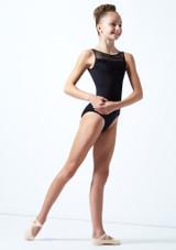 Maillot de malla y parra Ballet Rosa Negro  Delante-1 [Negro ]