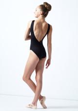 Maillot de malla y parra Ballet Rosa Negro  Detrás-1 [Negro ]