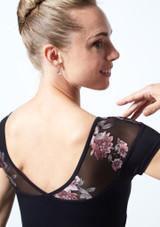 Maillot con escote corazón floral Margot Move Dance Negro  Delante-1 [Negro ]