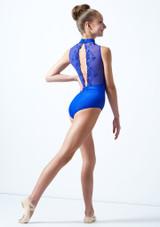 Maillot cuello alto con encaje para joven Ballet Rosa Azul Real  Detrás-1 [Azul Real ]