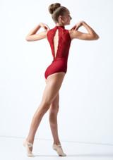 Maillot cuello alto con encaje para joven Ballet Rosa Rojo  Detrás-1 [Rojo ]