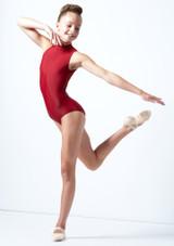 Maillot cuello alto con encaje para joven Ballet Rosa Rojo  Delante-1 [Rojo ]