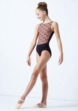 Maillot bordado sin mangas para joven Ballet Rosa Caramelo  Delante-1 [Caramelo ]