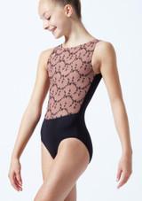 Maillot bordado sin mangas para joven Ballet Rosa Caramelo  Delante-1T [Caramelo ]